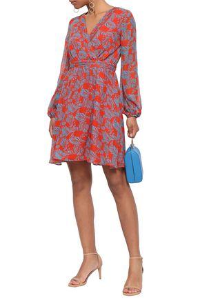 DIANE VON FURSTENBERG Wrap-effect printed silk-chiffon mini dress