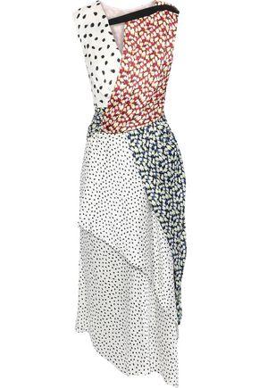 JASON WU Asymmetric gathered printed crinkled silk-satin midi dress