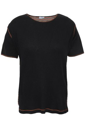 LOEWE Appliquéd ribbed cotton-blend and striped jersey T-shirt