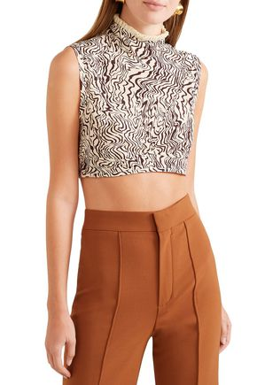 CHLOÉ Cropped ruffle-trimmed printed silk crepe de chine top