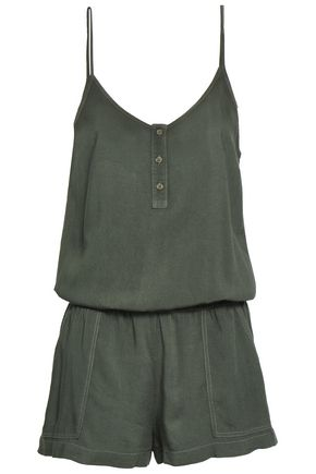 MONROW Gathered brushed-twill playsuit