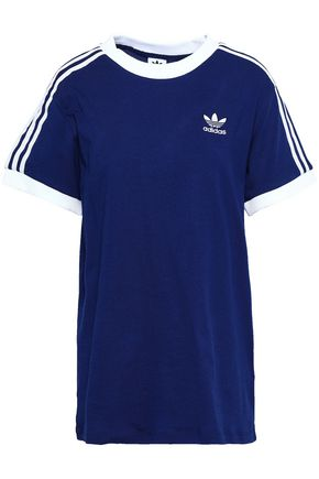 ADIDAS ORIGINALS Grosgrain-trimmed embroidered cotton-jersey T-shirt