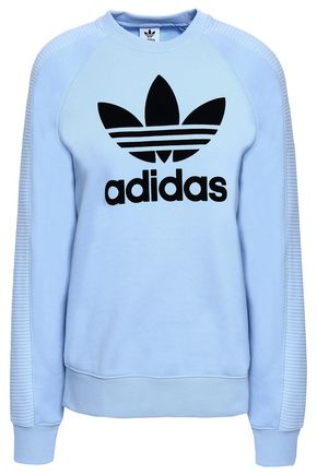 ADIDAS ORIGINALS Flocked French cotton-terry sweatshirt