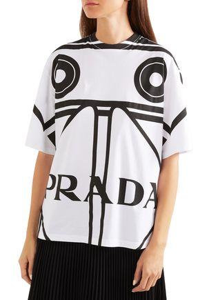 PRADA Printed cotton-jersey T-shirt