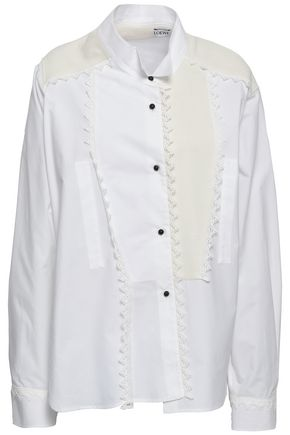LOEWE Crochet-trimmed ponte and cotton-poplin shirt