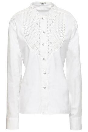 MIU MIU Rick rack-trimmed cotton Oxford shirt