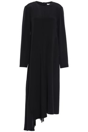 TIBI Asymmetric tie-back cutout silk-crepe midi dress