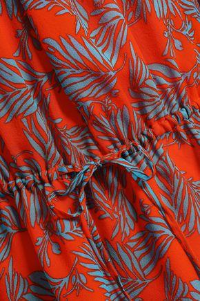 DIANE VON FURSTENBERG Off-the-shoulder printed silk-georgette top