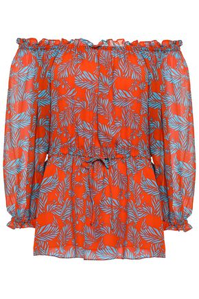 DIANE VON FURSTENBERG Off-the-shoulder printed silk-georgette top