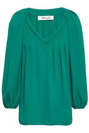 DIANE VON FURSTENBERG Pintucked crepe blouse