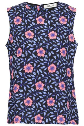 DIANE VON FURSTENBERG Floral-print crepe top