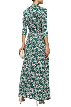 DIANE VON FURSTENBERG Printed silk and cotton-blend jersey maxi wrap dress