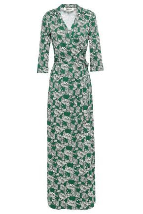 DIANE VON FURSTENBERG Printed silk and cotton-blend jersey maxi wrap dress
