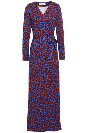 DIANE VON FURSTENBERG Leopard-print silk and cotton-blend jersey maxi wrap dress