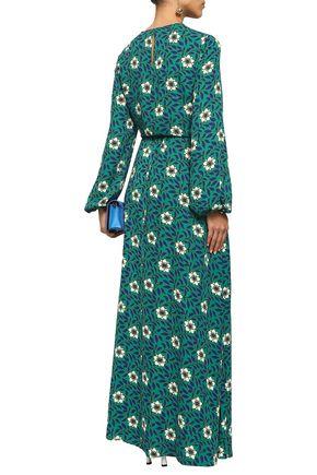 DIANE VON FURSTENBERG Gathered floral-print crepe maxi dress