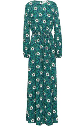 DIANE VON FURSTENBERG Gathered floral-print crepe maxi dress