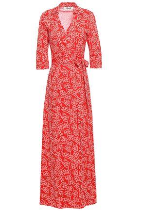 DIANE VON FURSTENBERG Floral-print cotton and silk-blend jersey maxi wrap dress