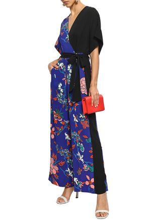 DIANE VON FURSTENBERG Wrap-effect paneled floral-print crepe jumpsuit
