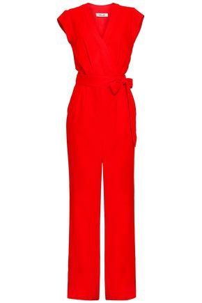 DIANE VON FURSTENBERG Belted wrap-effect crepe jumpsuit