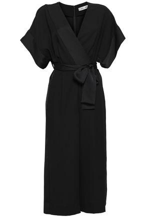 DIANE VON FURSTENBERG Cropped wrap-effect satin-crepe jumpsuit