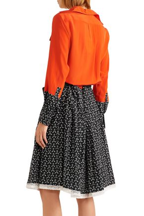 CHLOÉ Lace-trimmed printed silk crepe de chine shirt dress