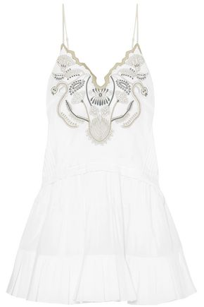 CHLOÉ Pintucked embroidered cotton-voile mini slip dress