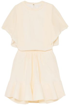 CHLOÉ Gathered crepe de chine mini dress