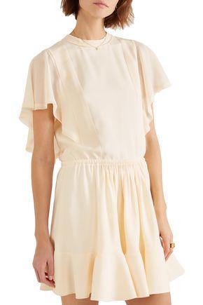 CHLOÉ Gathered crepe de chine mini dress