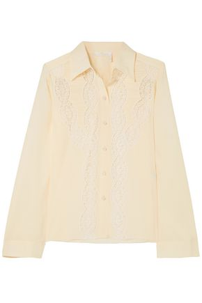 CHLOÉ Lace-trimmed ruched silk crepe de chine shirt