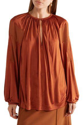 CHLOÉ Crepe-paneled satin-jersey blouse