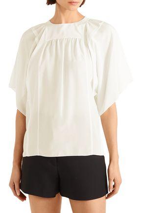 CHLOÉ Gathered silk crepe de chine blouse