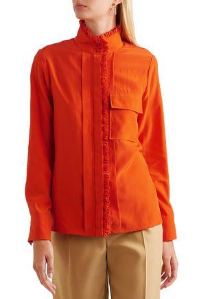 CHLOÉ Ruffle-trimmed silk crepe de chine shirt