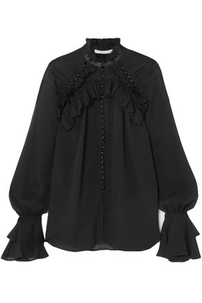 JONATHAN SIMKHAI Satin-trimmed ruffled silk-georgette blouse