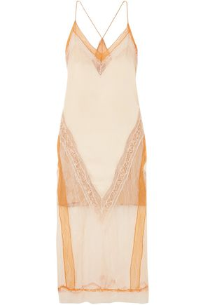 JONATHAN SIMKHAI Lace-paneled satin midi dress