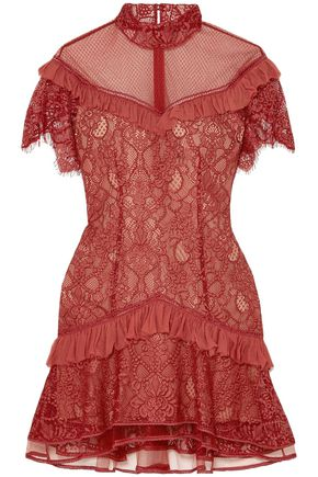 JONATHAN SIMKHAI Ruffle-trimmed lace mini dress