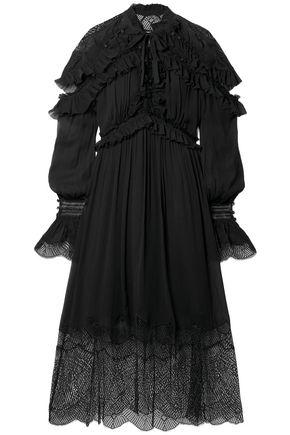 JONATHAN SIMKHAI Ruffled lace-paneled silk-georgette midi dress