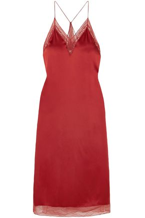 JONATHAN SIMKHAI Lace-trimmed satin midi slip dress