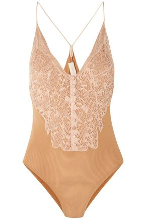 JONATHAN SIMKHAI Corded lace-paneled stretch-mesh bodysuit