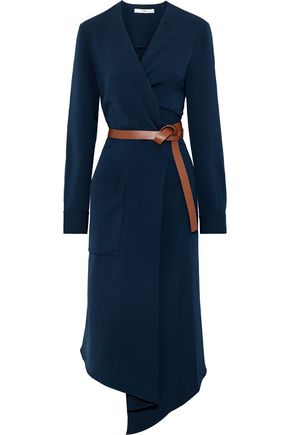 TIBI Wrap-effect belted canvas midi dress
