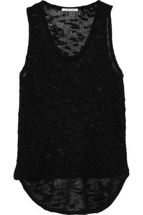 HELMUT LANG Bouclé-knit silk tank