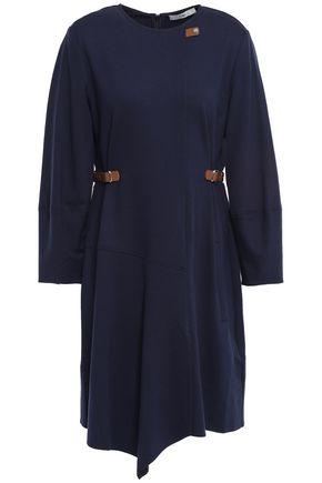 TIBI Faux leather-trimmed jersey mini dress