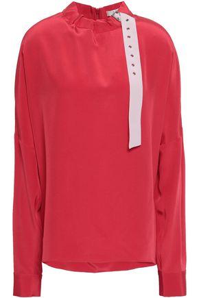 TIBI Buckled silk crepe de chine blouse