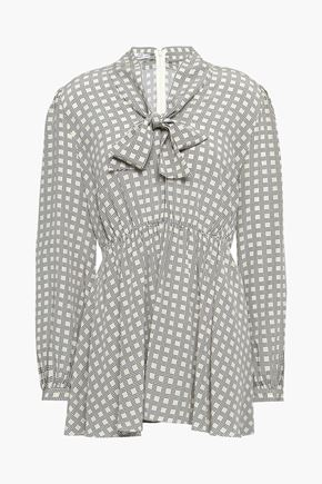 CO Pussy-bow printed silk-crepe blouse