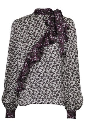 CO Pussy-bow ruffled floral-print silk-satin blouse