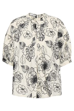 CO Pleated embroidered cotton-poplin blouse