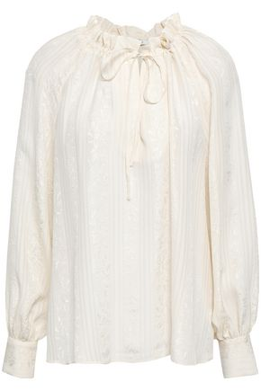 CO Gathered silk-jacquard blouse