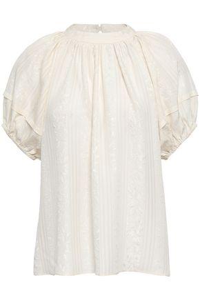 CO Gathered silk-jacquard top