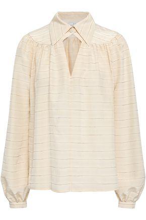 CO Cuotut lamé-trimmed silk-blend blouse