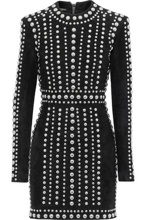 BALMAIN Studded suede mini dress