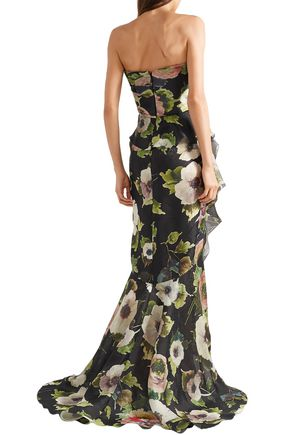 MARCHESA Bow-embellished floral-print silk-moire gown